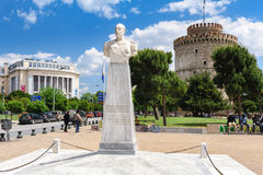 White Tower And Admiral Votsis Statue, Thessaloniki, Greece Royalty Free Stock Photos