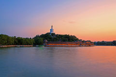 The white tower of Beihai park in Beijing Royalty Free Stock Images
