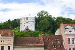 White Tower in Brasov. One of the Brasov old town center touristic attractions: the old medieval buildings and the White Tower Royalty Free Stock Photography