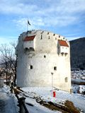 White tower in Brasov, Transilvania, Romania Royalty Free Stock Images