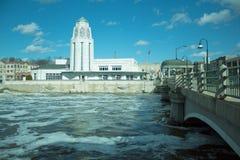White tower and bridge St,Charles Illinois stock photos