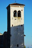 White tower, Castello, in Conegliano Veneto, Italy. Famous tower of Oratorio della Beata Vergine, from 1544, near the medieval Castello, in Conegliano, in Veneto Stock Image