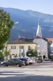 White tower, gothic style, Saint Michael parish church, Brixen, Bozen, Italy, Europe. White tower in gothic style, Saint Michael parish church, Brixen stock images