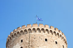 White tower with greece flag Royalty Free Stock Images