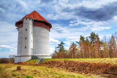 White tower of hydroelectricity in Bielkowo Stock Image