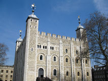 White Tower, London. The White Tower is a central tower, the old keep, at the Tower of London. It was built by William the Conqueror during the late 11th century Stock Photo