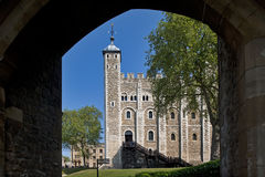 White Tower in London viewed through a gatehouse Stock Image