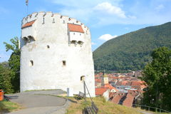 White tower, medieval fortifications in Brasov, Transilvania Stock Photo