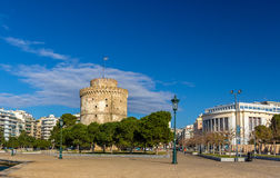 The White Tower and the National Theatre of Northern Greece Royalty Free Stock Photography