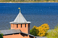 White tower of Nizhny Novgorod Kremlin Royalty Free Stock Photos