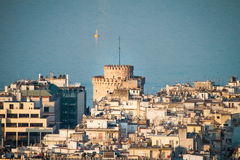 White Tower, Rare Aerial  Birds Eyes View of Thessaloniki city Royalty Free Stock Image