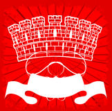 White Tower On Red. Ornate Background. Vector Illustration. No Meshes Stock Images