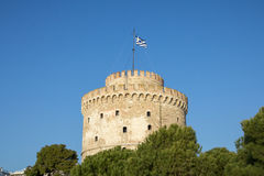 White Tower on a sunny afternoon. The White tower is one of the main monuments of Thessaloniki, second city of Greece Stock Image