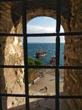 White Tower of Thesaloniki. View from the window of White Tower of Thesaloniki Royalty Free Stock Images
