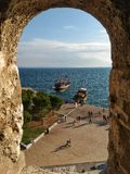 White Tower of Thesaloniki. View from the window of White Tower of Thesaloniki Royalty Free Stock Photos