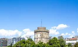 White tower in Thessaloniki. And Blue background Royalty Free Stock Images