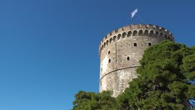 The White Tower in Thessaloniki stock video footage