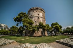 White Tower of Thessaloniki, Greece - Daytime with Wide angle Le. Ns Stock Photography