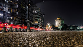White Tower of Thessaloniki, Greece. After Midnight Long Exposure shot royalty free stock photography
