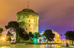 White Tower of Thessaloniki in Greece. At night Stock Image