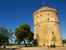 The White Tower of Thessaloniki on the shore of The Aegean Sea in Thessaloniki, Greece Stock Images
