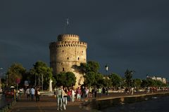 White Tower in Thessaloniki on a stormy autumn evening Stock Photography