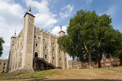 The White Tower, Tower of London. Wide angle view of The White Tower, the central keep within the Tower of London Stock Image