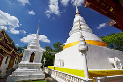 White tower in Wat Phra Singh in Chiang Mai. Wat Phra Singh is a Buddhist temple (Thai language: Wat) in Chiang Mai, Northern Thailand. King Ananda Mahidol (Rama Royalty Free Stock Photos