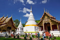 White tower in Wat Phra Singh in Chiang Mai. Wat Phra Singh is a Buddhist temple (Thai language: Wat) in Chiang Mai, Northern Thailand. King Ananda Mahidol (Rama Royalty Free Stock Images