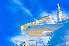 Ships Satellite Equipment. White Towers on a large cruise ship with satellite equipment stock images