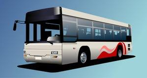 White town bus. Coach Stock Photo