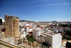 White town, Cabra. Castle battlements and part of town (Castillo de los Condes de Cabra), Cabra, Cordoba Province, Andalusia, Spain, Western Europe Stock Photography