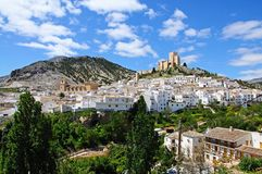 White town with castle, Velez Blanco. Royalty Free Stock Photo