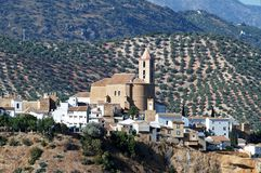 White town with church, Iznajar. Stock Image