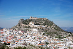 White town. With the medieval castle on the hill in Spain stock photo