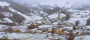 White town by the snow in winter. Stock Photo