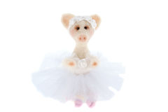 White toy pig in a tutu Royalty Free Stock Image