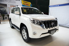 White toyota land cruiser prado car Stock Photo
