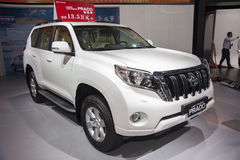 White toyota prado land cruise car Royalty Free Stock Image