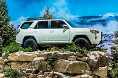 White 2019 Toyota 4Runner TRD Pro exposed on winter instalation taken on Chicago Autoshow 02/17/2019 stock image
