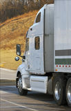 White Tractor Trailer. Close Up Stock Photo