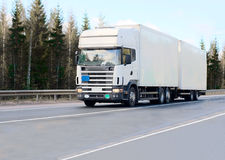 White tractor trailer truck Stock Image