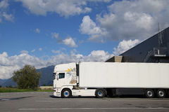 White tractor-trailer truck Stock Photos
