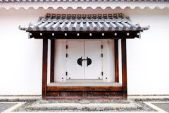 White traditional decorative Japanese door Stock Photography