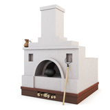 White traditional Russian stove. 3d. Stock Image