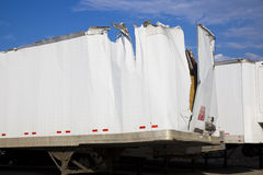 White trailer after accident Stock Photo
