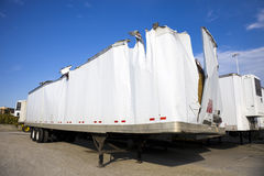 White trailer after accident Royalty Free Stock Photo