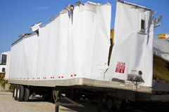 White trailer after accident Stock Images