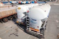 White trailer tanks for flour transportation Stock Image