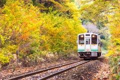White train commuter Fukushima Japan royalty free stock photo